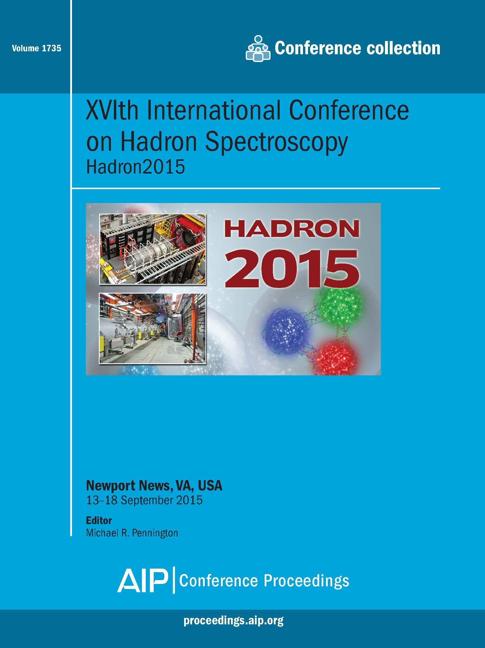 Volume 1735: XVIth International Conference on Hadron Specroscopy