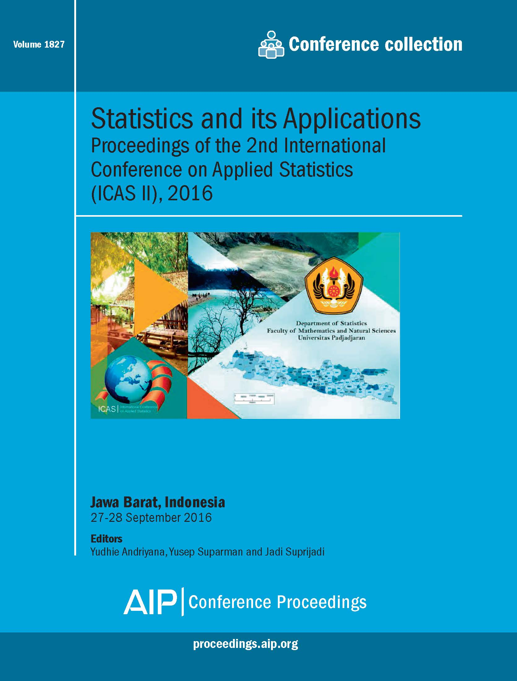 Volume 1827: Statistics and its Applications | AIP Publishing Print