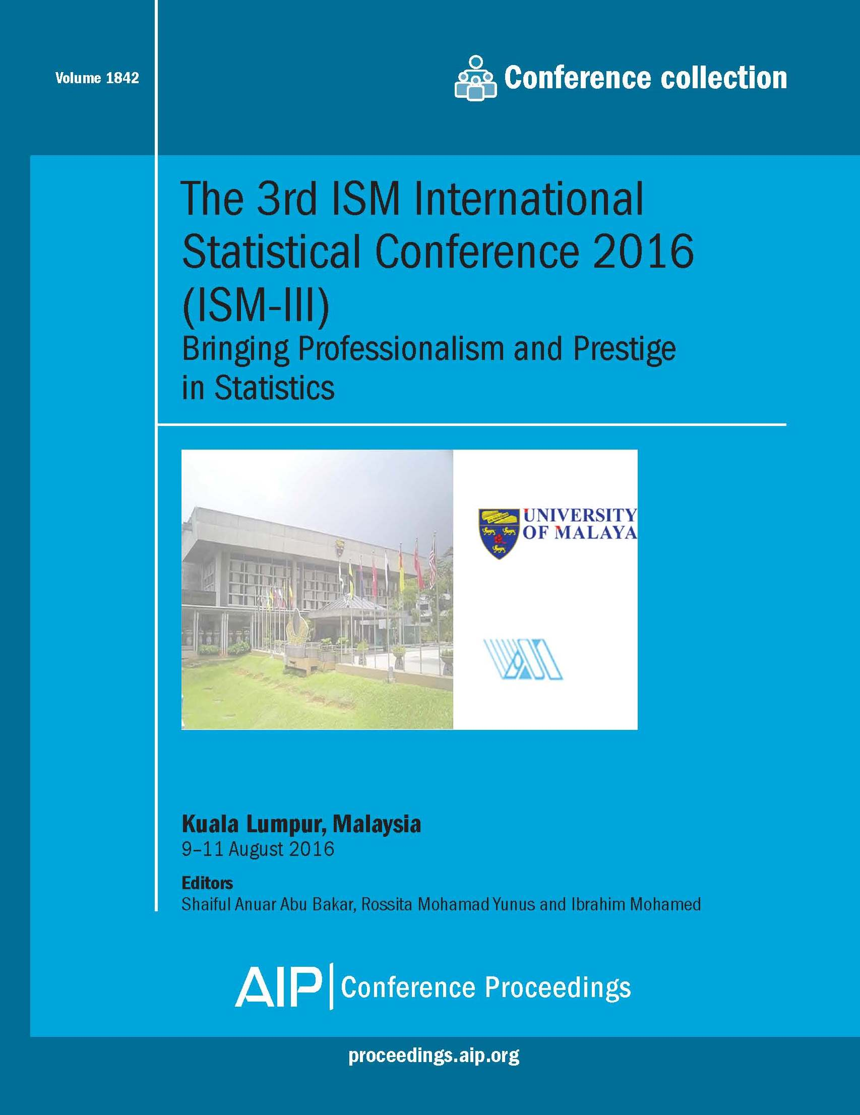 Volume 1842: The 3rd ISM International Statistical Conference 2016