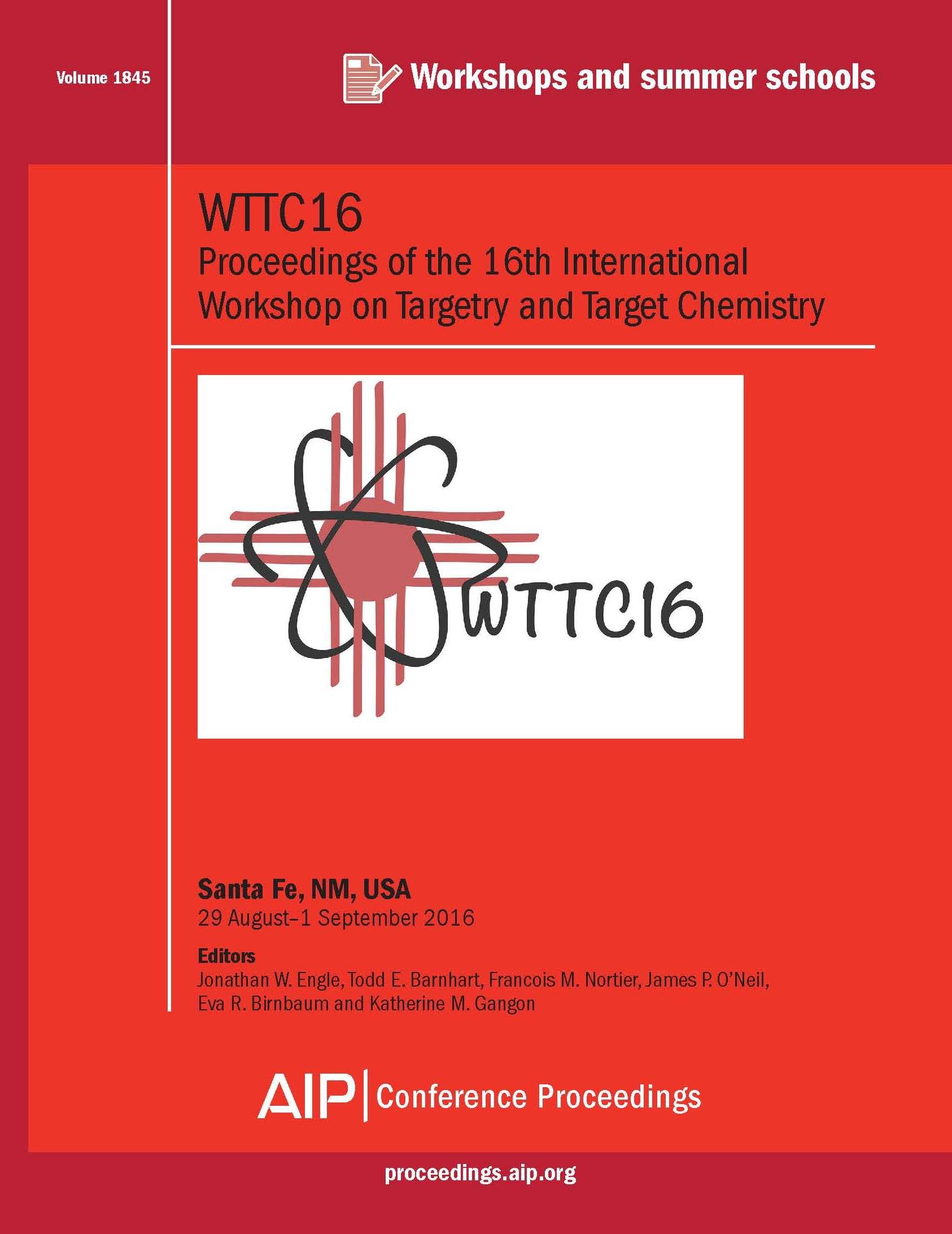 Volume 1845: WTTC16   AIP Publishing Print on Demand
