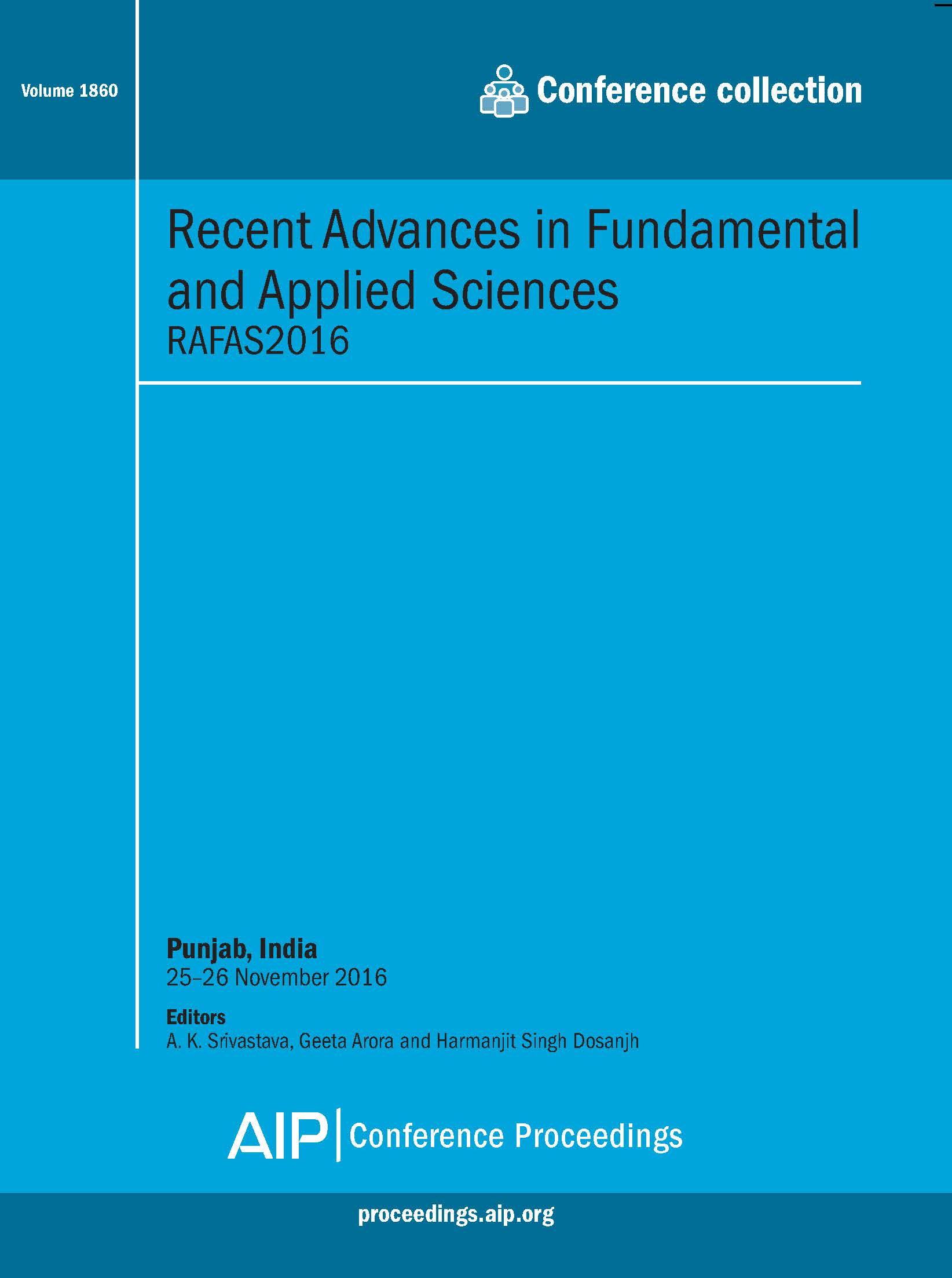Volume 1860: Recent Advances in Fundamental and Applied