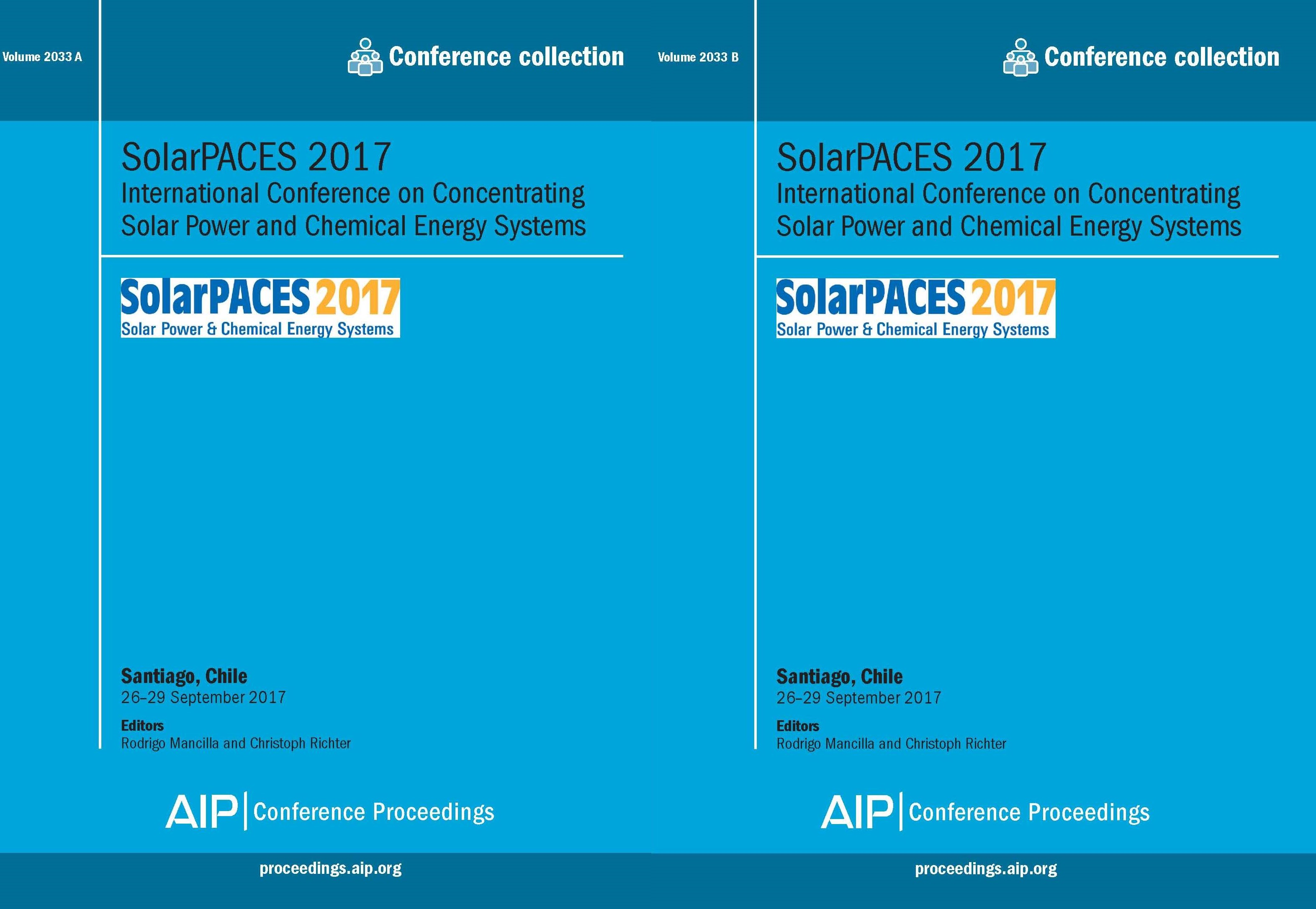 Volume 2033: SolarPACES 2017 | AIP Publishing Print on Demand