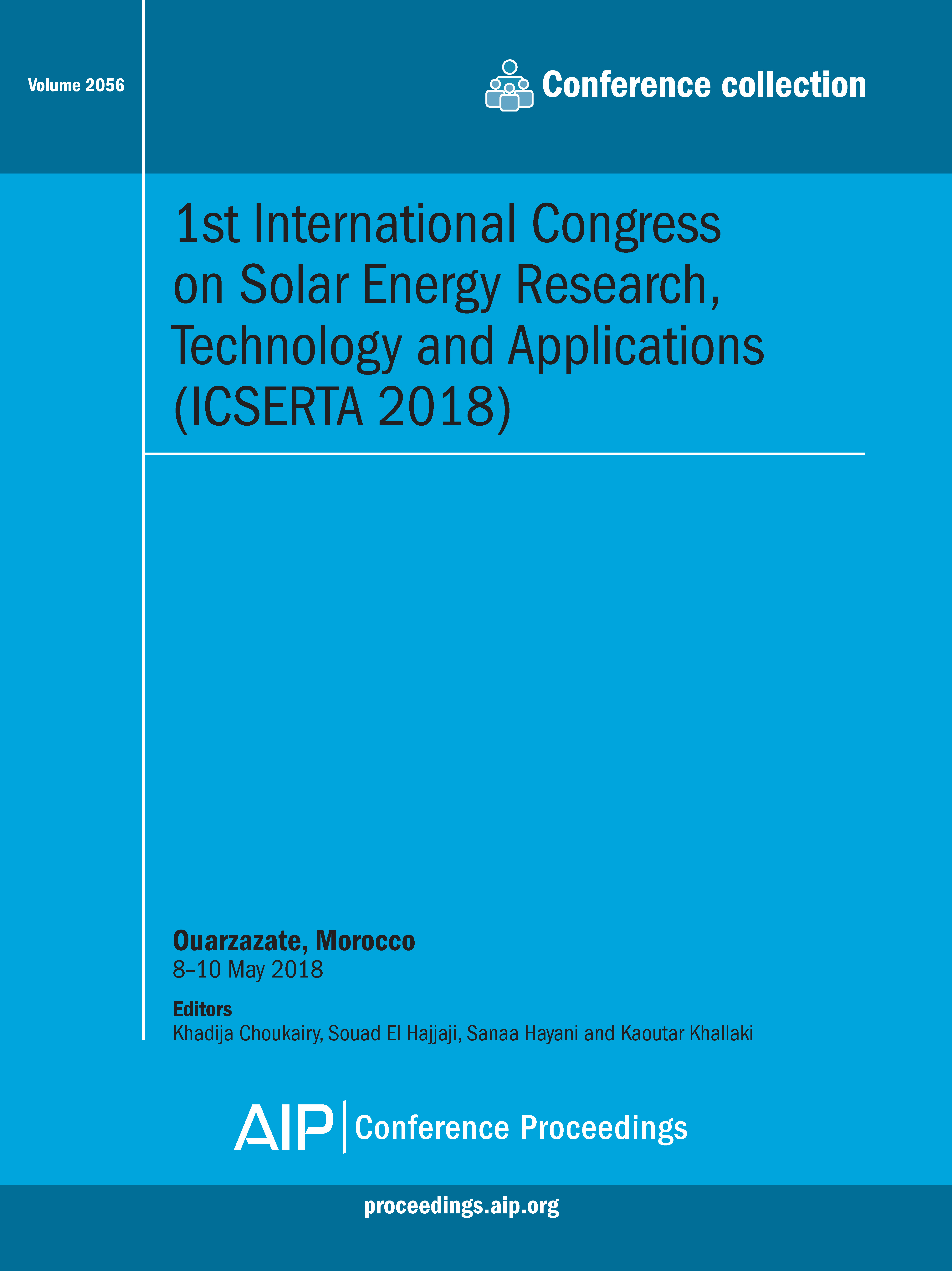 Volume 2056: 1st International Congress on Solar Energy Research,  Technology and Applications (ICSERTA 2018)